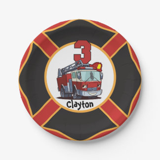 3rd Birthday Fire Truck Paper Plate