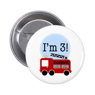 3rd Birthday Firetruck 6 Cm Round Badge