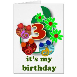 3rd birthday gifts: 3 cute elephants card