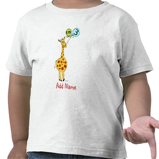 3rd Birthday Giraffe and Balloons Tee Shirt