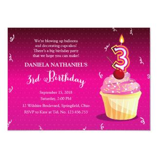 3rd Birthday Girly Party - Pink Fuschia Cupcake 11 Cm X 16 Cm Invitation Card