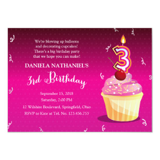 3rd Birthday Girly Party - Pink Fuschia Cupcake Personalized Invites
