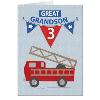 3rd Birthday Great Grandson, Firetruck Card