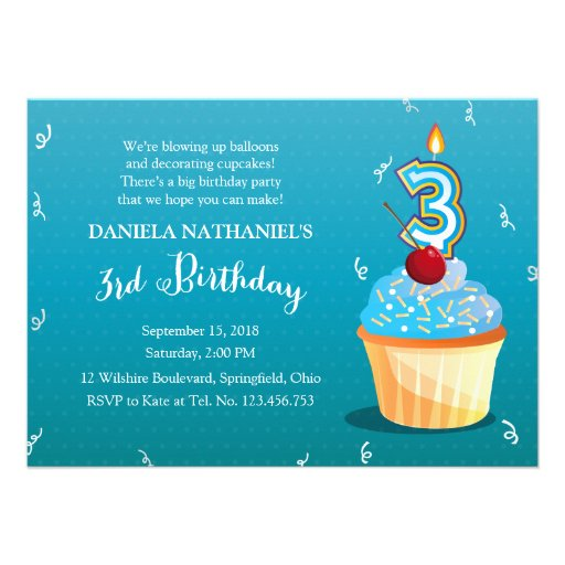 3rd Birthday Ice Blue Cupcake Party Personalized Announcements