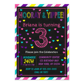 3rd Birthday Invitation for a Girls Birthday Party
