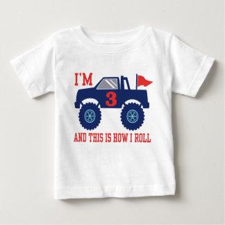 3rd Birthday Monster Truck Baby T-Shirt