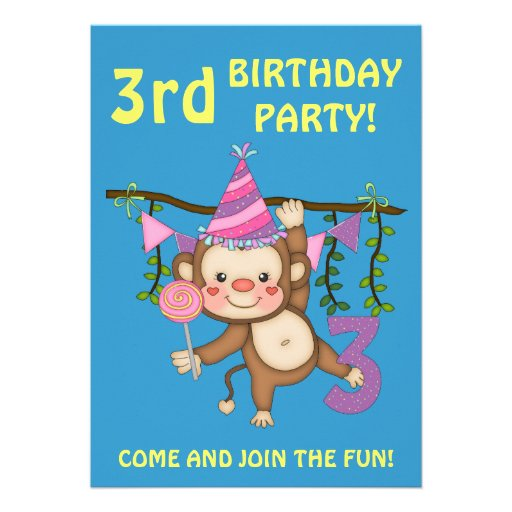 3rd Birthday Party-Cute Monkey+Colorful Balloons Personalized Announcements