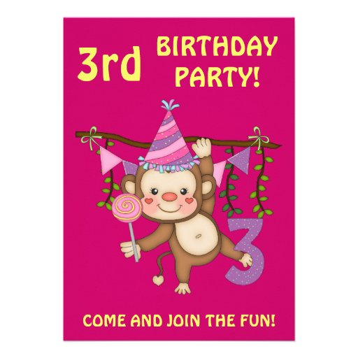 3rd Birthday Party-Cute Monkey+Colorful Balloons Personalized Invites
