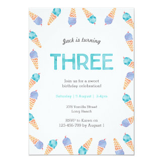3rd Birthday Party   Ice cream invitation