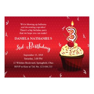 3rd Birthday Party - Red Velvet Cupcake Announcement