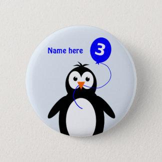 3rd birthday penguin add name blue 6 cm round badge
