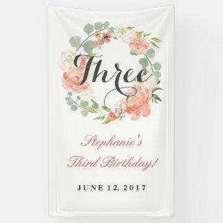 3rd Birthday Pink Floral Wreath Three Banner