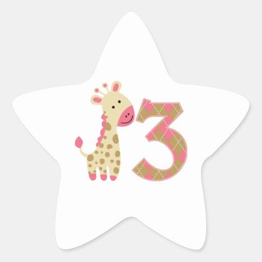 3rd Birthday Pink Giraffe Star Stickers