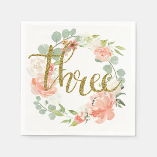 3rd Birthday Pink Gold Floral Wreath Napkin Paper Napkins
