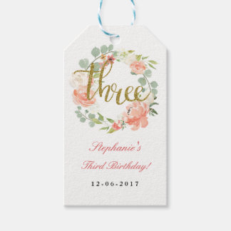 3rd Birthday Pink Gold Floral Wreath Tags