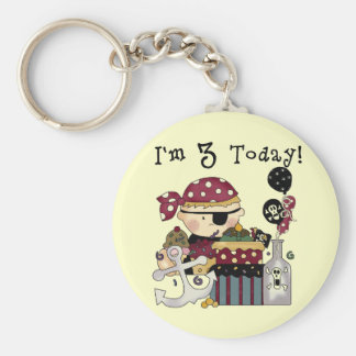3rd Birthday Pirate Tshirts and Gifts Basic Round Button Key Ring