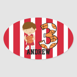 3rd Birthday Red and White Basketball Player Oval Sticker