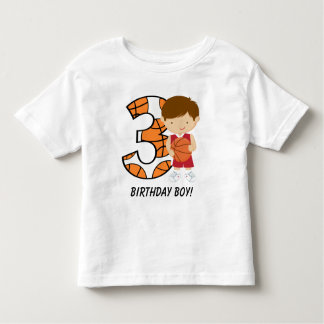 3rd Birthday Red and White Basketball Player Shirt