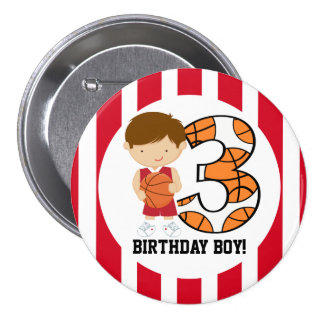 3rd Birthday Red and White Basketball Player v2 7.5 Cm Round Badge