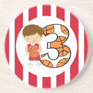 3rd Birthday Red and White Basketball Player v2 Coaster