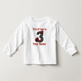 3rd Birthday Red Ladybug Girls Personalized Shirt