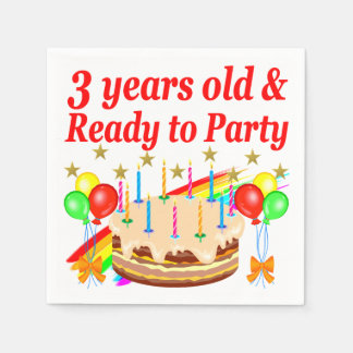 3RD BIRTHDAY RED RAINBOW CAKE DESIGN PAPER SERVIETTES