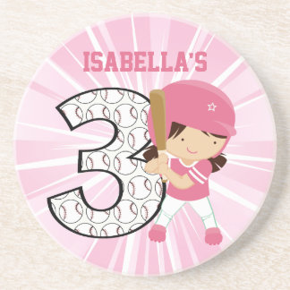 3rd Birthday Softball Batter Pink and White Coasters