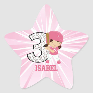 3rd Birthday Softball Batter Pink and White Stickers
