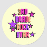 3rd Grade Rock Star Tshirts and Gifts Round Stickers