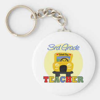 3rd Grade Teacher,bus Basic Round Button Key Ring
