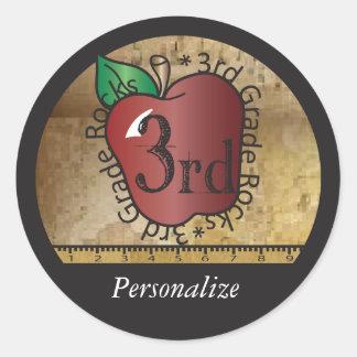 3rd Grade Teacher Rocks Vintage Style | DIY Name Round Sticker