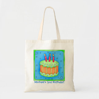 3rd Happy Birthday Cake Name Personalized Boy Gift Tote Bag