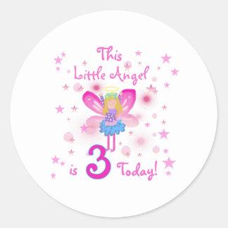 3rd Little Angel Birthday Round Sticker