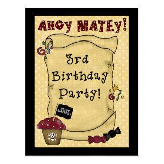 3rd Pirate Birthday Invitations Postcard