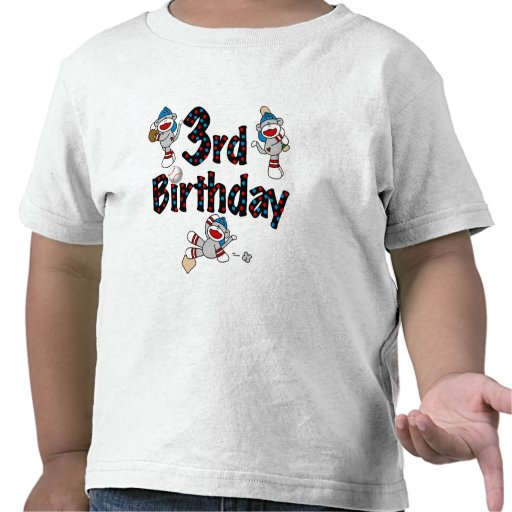 3rd Sock Monkey Baseball Birthday Tshirts