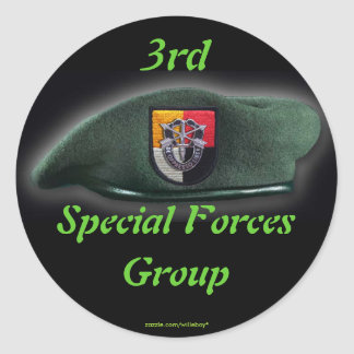 3rd Special Forces Green Berets SF SFG SOF Veteran Round Sticker