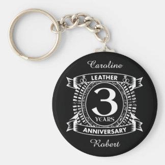 3rd wedding anniversary distressed crest key ring
