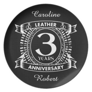 3rd wedding anniversary distressed crest plate