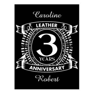 3rd wedding anniversary distressed crest postcard