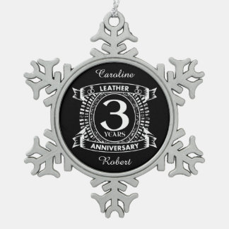 3rd wedding anniversary distressed crest snowflake pewter christmas ornament