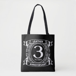 3rd wedding anniversary distressed crest tote bag