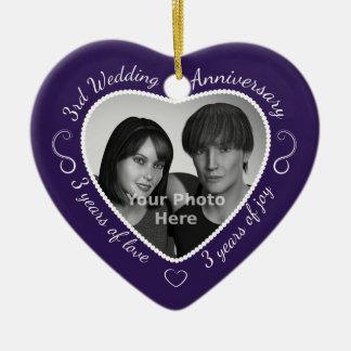 3rd Wedding Anniversary Photo Ceramic Heart Decoration