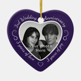 3rd Wedding Anniversary Photo Ceramic Ornament