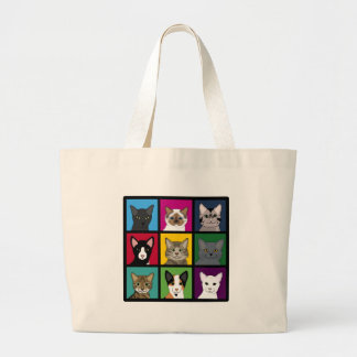 3x3 cats large tote bag