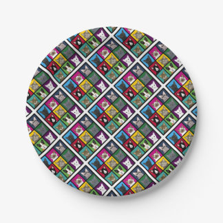3x3 cats paper plate