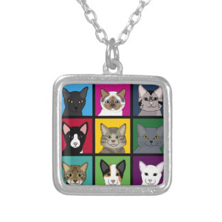 3x3 cats silver plated necklace