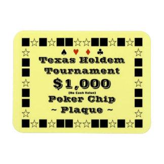 3x4 Texas Holdem Poker Chip Plaque $1000 Rectangular Photo Magnet