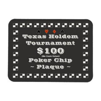 3x4 Texas Holdem Poker Chip Plaque $100 Rectangular Photo Magnet