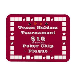 3x4 Texas Holdem Poker Chip Plaque $10 Rectangular Photo Magnet