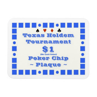 3x4 Texas Holdem Poker Chip Plaque $1 Magnet